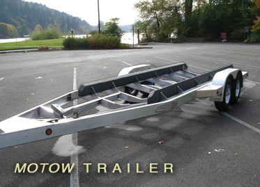 Photo of Motion Marine's custom aluminum trailer.